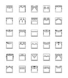 Vector line icons with valances and pelmets. Window top treatmen Stock Images