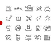 Gas Station Icons // Red Point Series Royalty Free Illustration