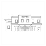 Vector line illustration of fire station Stock Images