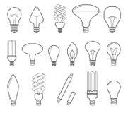 Vector line illustration of main electric lighting types: incandescent light bulb, halogen lamp, cfl and led lamp. Flat stock illustration