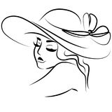 Vector line illustration portrait of girl in hat. On white Stock Photos