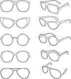 Vector line illustration of sunglasses frames. Vector set line illustration of sunglasses frames Royalty Free Stock Photography