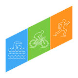 Vector line illustration triathlon and figures triathletes. Stock Image