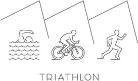 Vector line illustration triathlon and figures triathletes. Line illustration triathlon. Vector figures triathletes on a white background. Linear figure Stock Photography