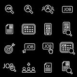 Vector line job search icon set. On black background Stock Photo