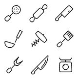 Vector line kitchen and cooking icons set Stock Photo