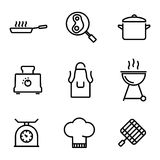 Vector line kitchen and cooking icons set Stock Photography