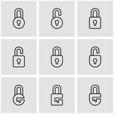 Vector line locks icon set Royalty Free Stock Photo