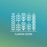 Vector line logo and emblem with flowers Stock Photos