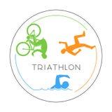 Vector line logo triathlon and figures triathletes. Stock Image