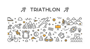 Vector line logo triathlon. Figures triathletes on white background. Stock Images
