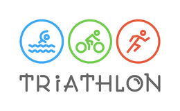 Vector line logo triathlon and figures triathletes. Vector line logo triathlon. Figures triathletes on white background. Swimming, cycling and running symbol Stock Photo