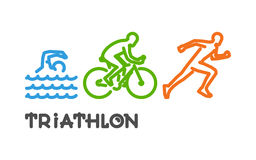 Vector line logo triathlon. Swimming, cycling and running. Royalty Free Stock Photo