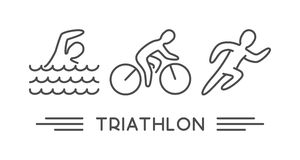 Vector line logo triathlon on white background. Vector line logo triathlon. Figures triathletes on white background. Swimming, cycling and running symbol Royalty Free Stock Photography