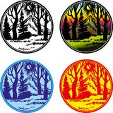 Vector line logos badges with nature. Round labels royalty free illustration