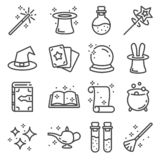 Vector line magic icons set. Outlie illustration vector illustration