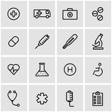 Vector line medical icon set. On grey background Stock Photos