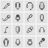 Vector line microphone icon set Stock Images