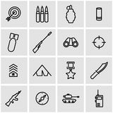Vector line military icon set Stock Images