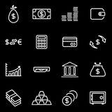 Vector line money icon set. On black background Royalty Free Stock Image