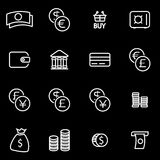 Vector line money icon set. On black background Stock Photos