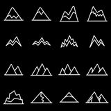 Vector line mountains icon set Royalty Free Stock Images