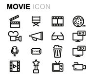 Vector line movie set. On white background Royalty Free Stock Photos