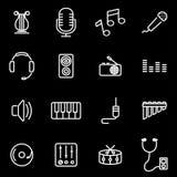 Vector line music icon set Stock Photos