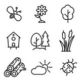 Vector line nature icons set Royalty Free Stock Images