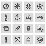Vector line nautical icons set Royalty Free Stock Images