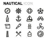 Vector line nautical icons set Royalty Free Stock Photography