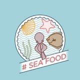 Vector line octopus turbot seashell badge. Vector line octopus turbot seashell seafood badge Stock Illustration