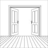 Vector Line Open Doors. Vector Opened Line Doors Outside In Room with Floor Royalty Free Stock Image