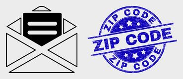 Vector Linear Open Mail Icon and Grunge Zip Code Stamp. Vector line open mail pictogram and Zip Code seal stamp. Blue round textured seal stamp with Zip Code royalty free illustration