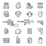 Vector line paintball or airsoft icon set. Vector set of black flat line icons for paintball and airsoft equipment and outfit. Collection isolated on white Royalty Free Stock Photos