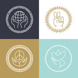 Vector line peace signs and logos Stock Photos