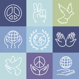 Vector line peace signs and logos Stock Image