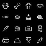Vector line pet icon set. On black background Stock Images