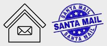 Vector Contour Post Office Icon and Distress Santa Mail Stamp Seal. Vector line post office icon and Santa Mail seal stamp. Blue rounded scratched stamp with stock illustration