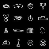 Vector line racing icon set. On black background Royalty Free Stock Photography