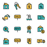 Vector line real estate set Royalty Free Stock Images