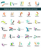 Vector line ribbon logo set Royalty Free Stock Photos