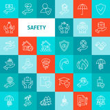 Vector Line Safety Icons Set Stock Image