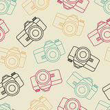 Vector line seamless photo camera with shutter. Vector line pattern photo camera with shutter Royalty Free Stock Photo