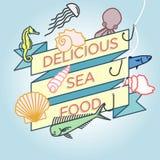 Vector line seashell octopus jellyfish seafood badge. Ribbon Stock Illustration