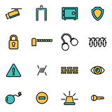 Vector line security set Royalty Free Stock Images