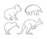 Vector line set of australian animals. Royalty Free Stock Photos
