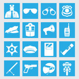 Vector line set collection icons of police equipment  illustration Royalty Free Stock Image