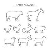 Vector line set of farm animals. Silhouettes animals isolated on Stock Photo