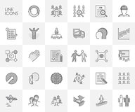Vector line set of icons for career and training. Stock Image